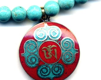 Nepalese OM Necklace Nepal Mandala Necklace, Tibet  Turquoise and Coral Mandala Pendant,  Nepal Jewelry by AnnaArt72.