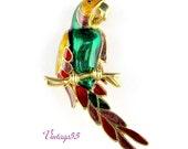 Brooch Tropical Bird Parrot Macaw Enamel Gold tone
