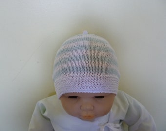 Baby Cotton Beanie, Baby Boy Bonnet, Coming Home Hat, Cotton Baby Hat, Baby Shower Gift, Summer Baby Hat, Xmas Baby Bonnet, Knitted Bonnet.
