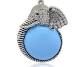 Rhinestone Elephant with Resin Cabochon  - Sold Individually