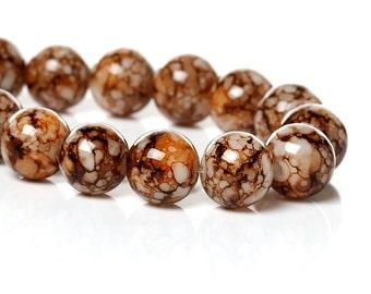 Brown/White/Orange Glass Beads - 10mm - Sold per strand - #GBS144