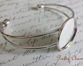 1 Inch Silver Cuff Bangle Bracelet Blank Trays / Bezel Cabochon Setting 25mm
