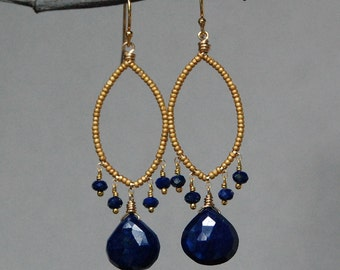 Faceted Lapis and Matte Gold Chandelier Earrings