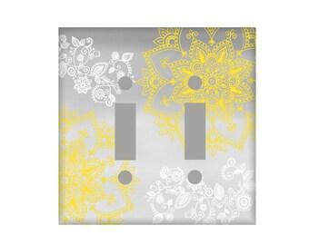 Mandala Switchplate Cover  - Gray Yellow Switchplate - Light Switch Cover - Gray Ombre Switchplate - Henna Switch plate