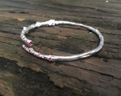 Rosemary branch, sterling silver, bangle, cuff, with rubies