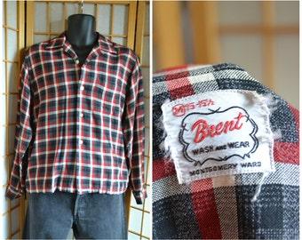 50s red / black plaid rayon shirt by Brent mens size small / medium