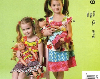 GIRLS CLOTHES PATTERN / Make Matching Boutique Style Dress for Girl and American Girl Doll  / Sizes 2 to 5 Or 6 to 8
