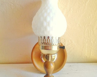 Vintage Mid-Century Wood and Milk Glass with Gold Wall Sconce Light Fixture - Complete