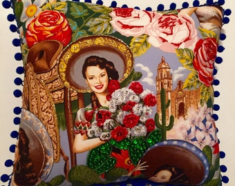 Mexican Senorita with Flowers Decorative Beaded Pillow