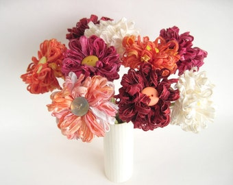 9 Fabric Flowers Custom Bouquet, bridal bouquet
