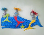 Mermaid Art Metal Wall Sculpture Large Marine - Mermaids and Whale - Catching a Ride -  Recycled Metal Coastal Wall Decor Beach House Art