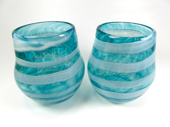 Items similar to pair of handblown stemless wine glasses in teal and white wine glass wine - Hand blown stemless wine glasses ...