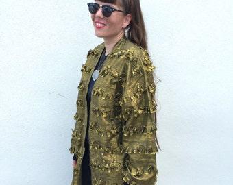 Vintage Rock n Roll METALLIC Fringe GOLD Cotton Distressed Paula Sweet BLAZER 1980s Oversized Blazer