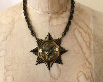 Vintage necklace brass necklace Cameo necklace art Nouveau necklace Star Pendant necklace Statement necklace steampunk necklace Choker