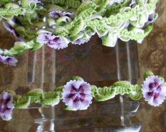 Lavender Floral  Ribbon Trim