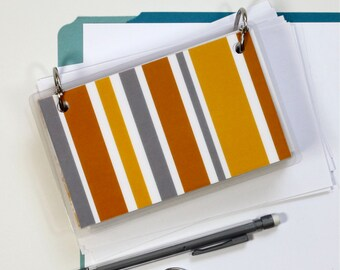 3 x 5 Index Card or Note Card Binder, Orange and Grey Stripe