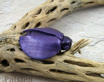 Purple Jewel Beetle Brooch, whimsical polymer clay beetle pin, insect jewelry