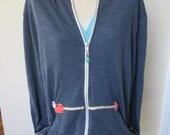 Ladies Appliqued Full Zip Hoodie, Appliqued Arrow Design Hoodie, Navy Hoodie, Spring Summer Jacket, Free Motion Applique, Plus Sizes