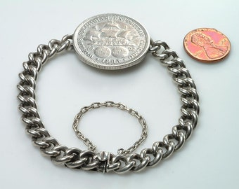ON HOLD-Silver Bracelet with Actual .900 Silver Columbia Exposition Coin 1893:  First US Commemorative Coin Ever Issued