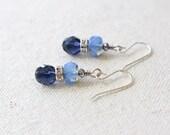 Two-Toned Blue Stacked Rhinestone Earrings