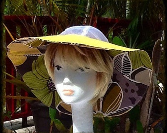 Wide Brim Reversible Sun Hat with White Mesh Crown for comfort
