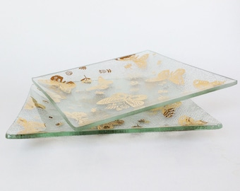 Vintage George Briard Butterfly Glass Dishes, Mid Century Modern Plates, 22K Gold, Set of Two