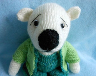 Teddy Bear Hand Knitted with Overall Pants, Boots and Sweater, Stuffed Animal, Teal, Lime Green, Stuffed Bear