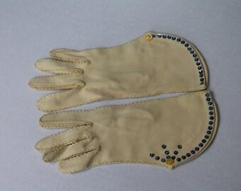 Vintage Embellished Gloves Ecru with Blue Sequins Buttons