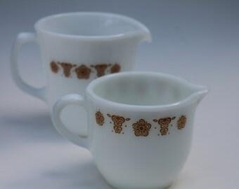 2 Pyrex Creamer Pitchers Gold Butterfly Milk glass Vintage Serving
