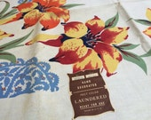 Reserved for brokenbramchhill - Tropical tablecloth with Paper Label likely Taylor, Wellington-Sears