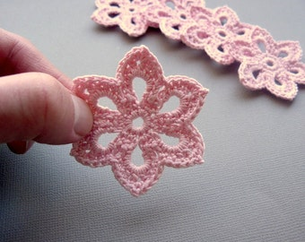 8 Pale Pink Flower Appliques -- 2 inch Diameter, Crochet Flowers