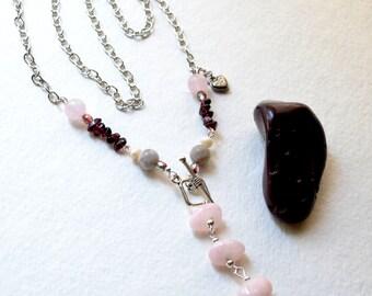 Goddess Inanna Rose Quartz Pendulum Necklace - Garnet, Lepidolite, Silver - Handmade OOAK, Metaphysical Healing Jewelry, Free US Shipping
