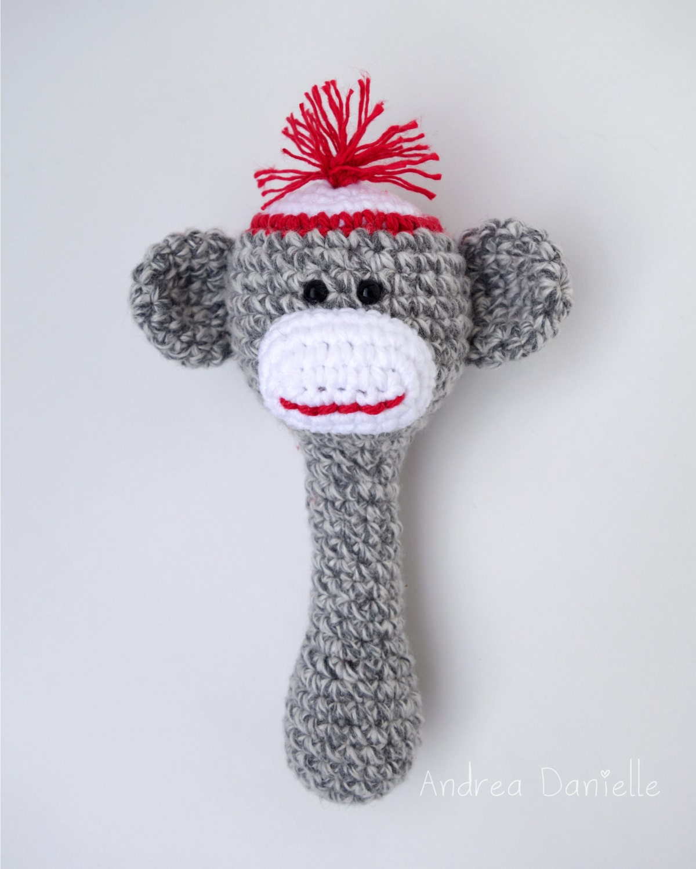 Amigurumi Crochet Sock Monkey : Crochet Sock Monkey Toy Rattle Amigurumi: Gray Red