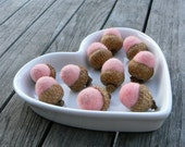 Cottage Chic Needle Felted Acorns, Pale Pink, Blood Red and Fuchsia Pink, Woodland, Shabby Chic, Vintage Inspired Wedding Favors - 12