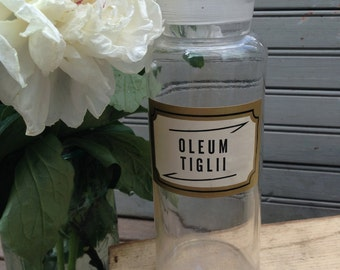 "Antique Glass Apothecary Jar or Bottle ""Oleum Tiglii"" with Glass Stopper"