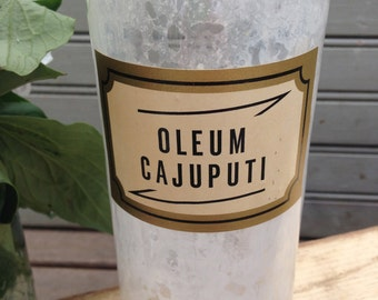 "Antique Glass Apothecary Jar or Bottle ""Oleum Cajaputi"" with Glass Stopper"