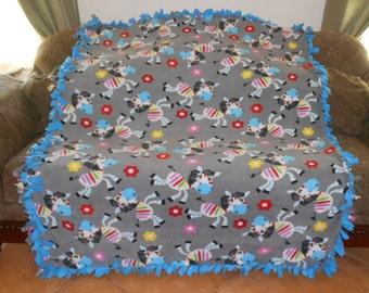 Zebras on Gray Blue Back Fleece Tie Blanket No Sew Fleece Blanket Fleece Throw 60x72 Approximate size