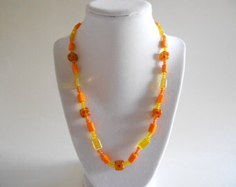 Orange Necklace Yellow Necklace Glass Beads Lampwork Glass Beads Yellow Czech Beads Dotted Beads Beaded Necklace Gold Tone Findings