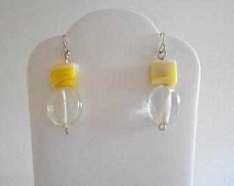Yellow Beads Earrings Yellow Earrings Clear Beads Earrings Clear Earrings India Glass Beads Yellow Beads Pierced Earrings Dangle Earrings