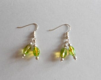 Green Earrings Glass Beads Earrings Beaded Earrings Pierced Earrings Dangle Earrings Silver Tone Findings