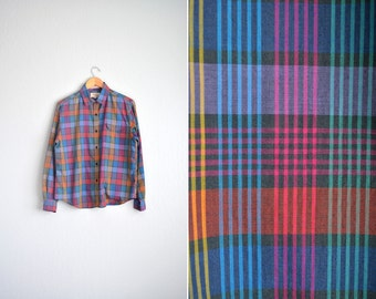 vintage '70s COLORFUL PLAID long sleeve button-up shirt. size xl 1x.