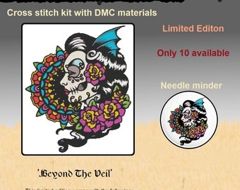 Modern Cross Stitch Kit, Needle Minder,  Beyond The Veil' By Illustrated Ink - LIMITED EDITION, Counted Cross Stitch, Sugar Skull, Xstitch