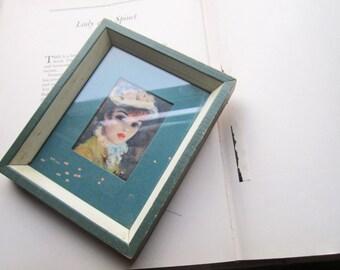 "Vintage Framed Print * 1950's 60's Framed Print Cherry Jeffe Huldah ""Tavern on the Green"" Parisian Girl *Small Wood Frame"