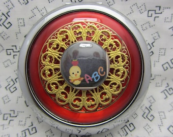 Compact Mirror - For Teacher - ABC's- Teacher Gift - Red Compact Mirror - Comes With Protective Pouch