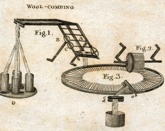 1797 Antique Copper-engraved Plate on Weaving Looms - Encyclopaedia Britannica Print - Plate I