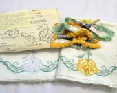 Vintage Pillow Cases to Hand Embroidered, Stamped Pillow Tubing, Yellow Roses, Cut work Pillowcases