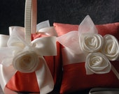 Ring Bearer Pillow and Flower Girl Basket Set - Coral Silk and Chiffon - Beth