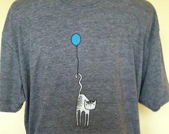 Cat T Shirt Unisex Men's Athletic Grey Sizes XSmall through XXLarge