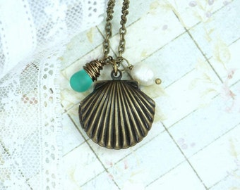 Shell Locket Necklace Nautical Jewelry Sea Glass Necklace Shell Jewelry Beach Necklace Locket Jewelry