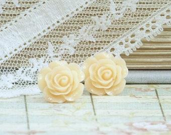 Peach Rose Earrings Rose Studs Flower Earrings Hypoallergenic Peach Earrings Flower Studs Peach Stud Earrings